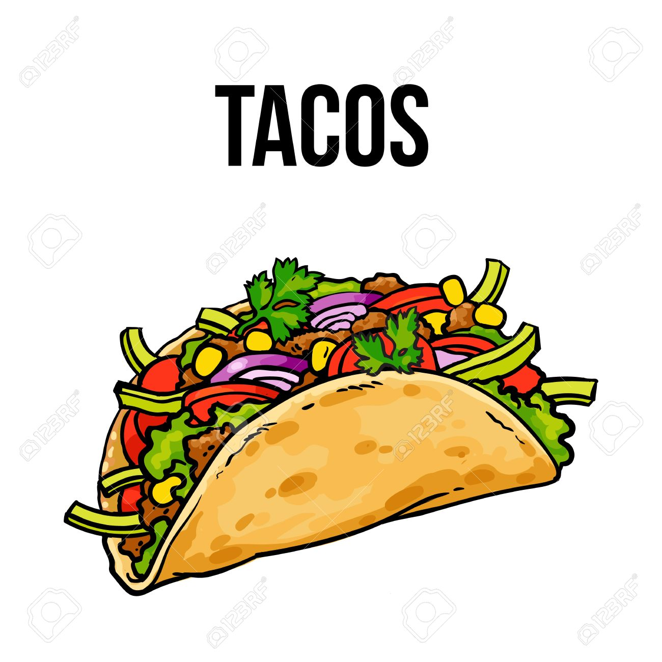 Taco Traditional Mexican Food Ground Meet With Vegetables In Royalty Free Cliparts Vectors And Stock Illustration Image 67895370