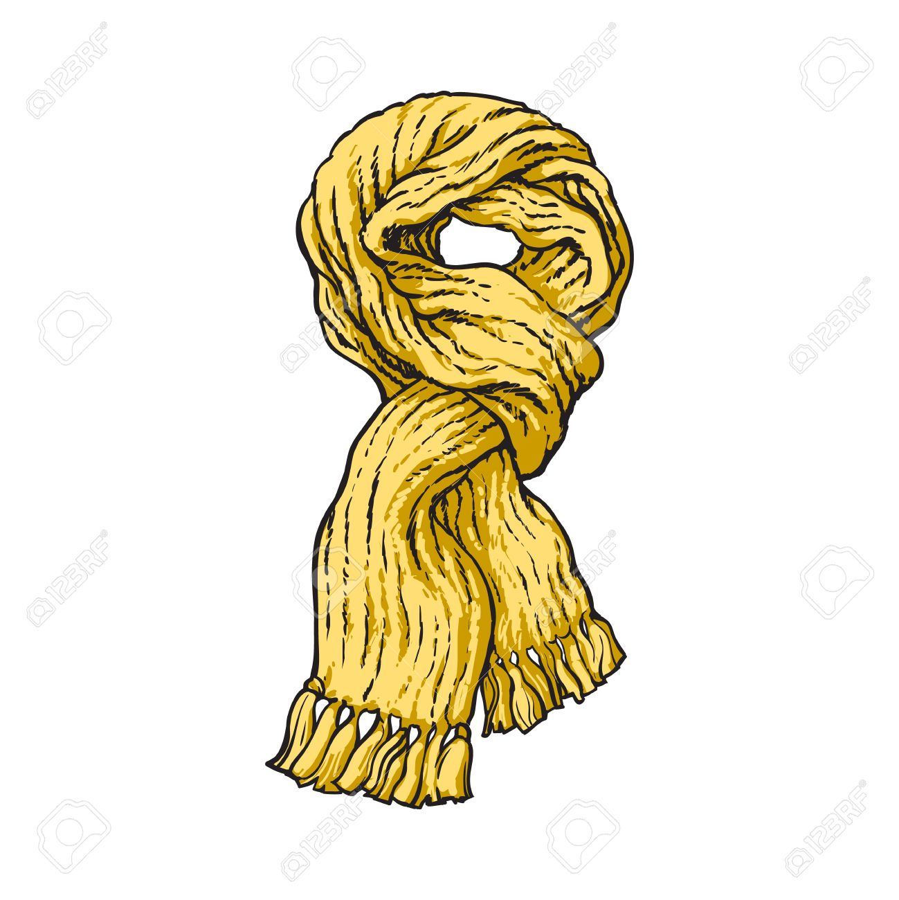 Bright Yellow Slip Knotted Winter Knitted Scarf With Tassels Royalty Free Cliparts Vectors And Stock Illustration Image 67895371