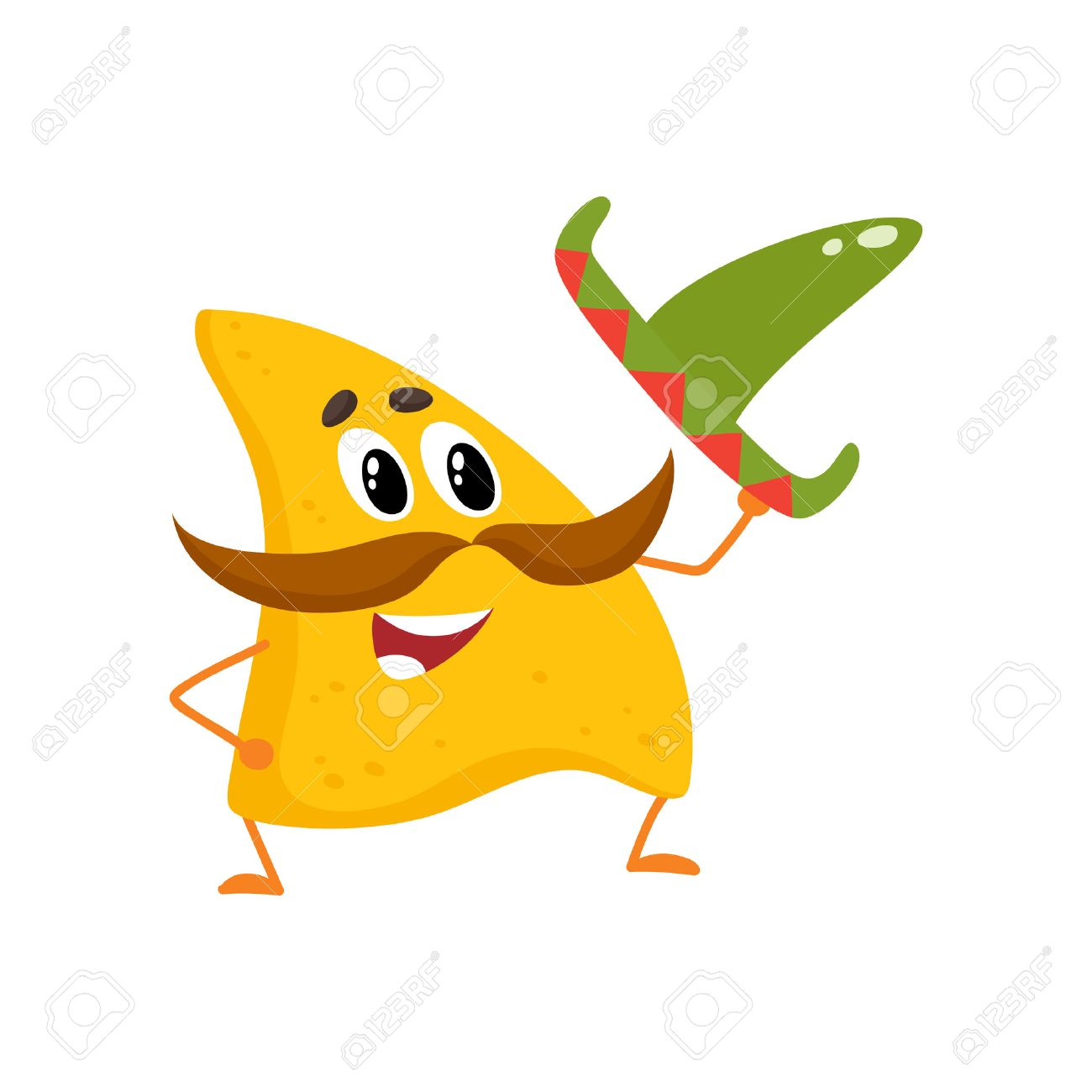 Sonriendo Nachos Con Espeso Bigote Y Sombrero Mexicano 86b3f11f584