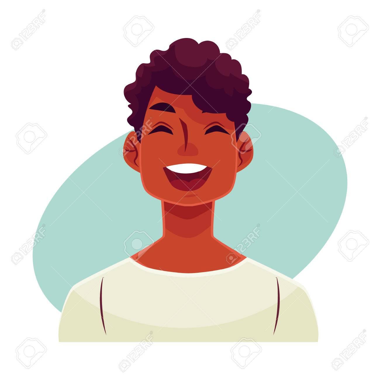 Jeune Visage Africain De L Homme Rire Expression Du Visage Vecteur