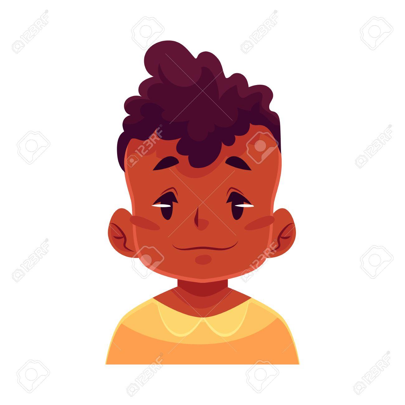 小さな少年の顔、中性表情漫画ベクトル イラスト白背景に分離します