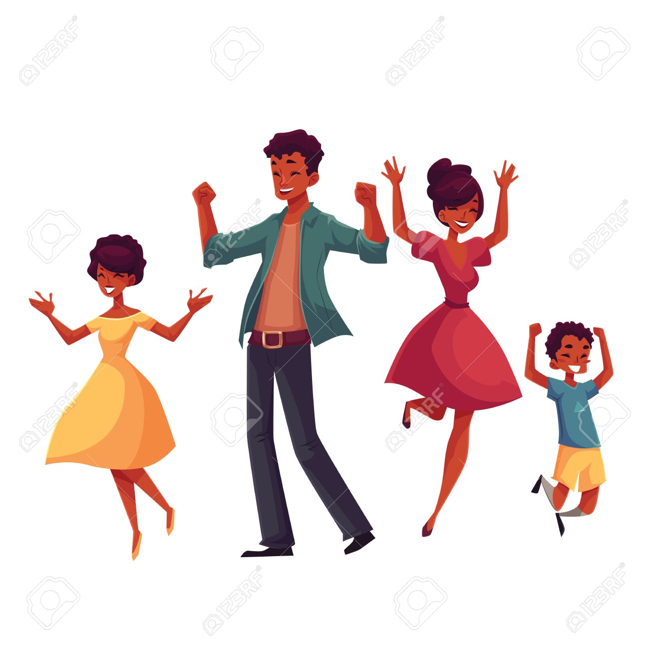 Cheerful Black Family Jumping From Happiness Cartoon Vector Royalty Free Cliparts Vectors And Stock Illustration Image 67895699