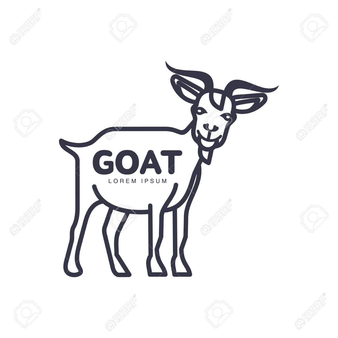 Full Length Goat Outline Template For Meat And Dairy Products