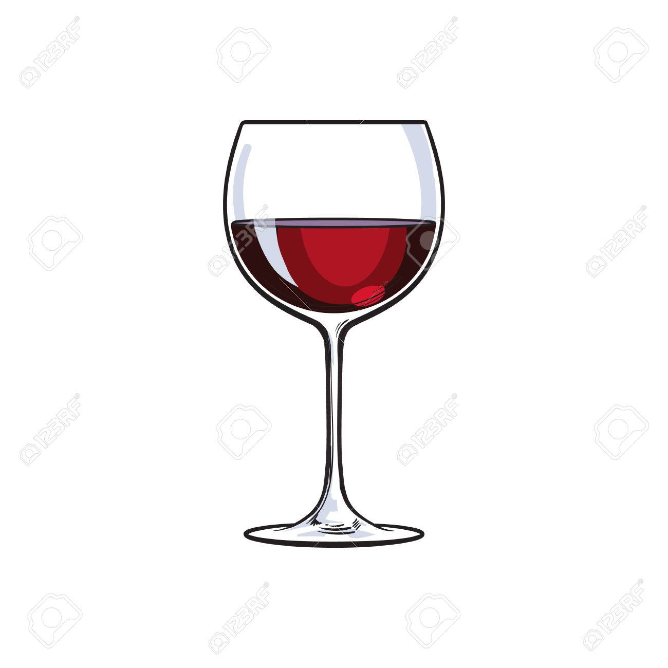 Red wine glass, sketch style vector illustration isolated on white background. Realistic hand drawing of a glass with red wine, symbol of celebration - 67895728