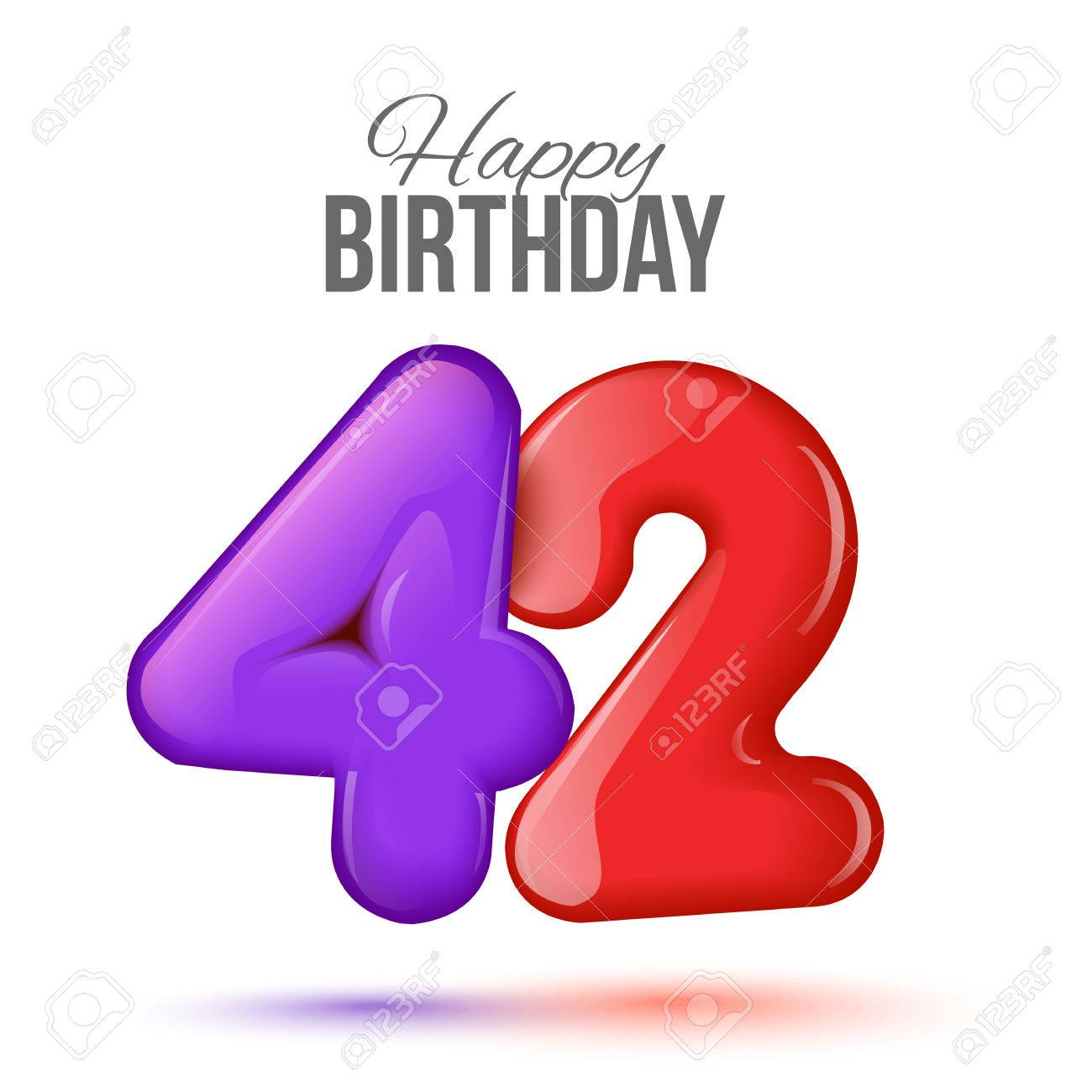 Forty two birthday greeting card template with 3d shiny number forty forty two birthday greeting card template with 3d shiny number forty two balloon on white background stopboris Images