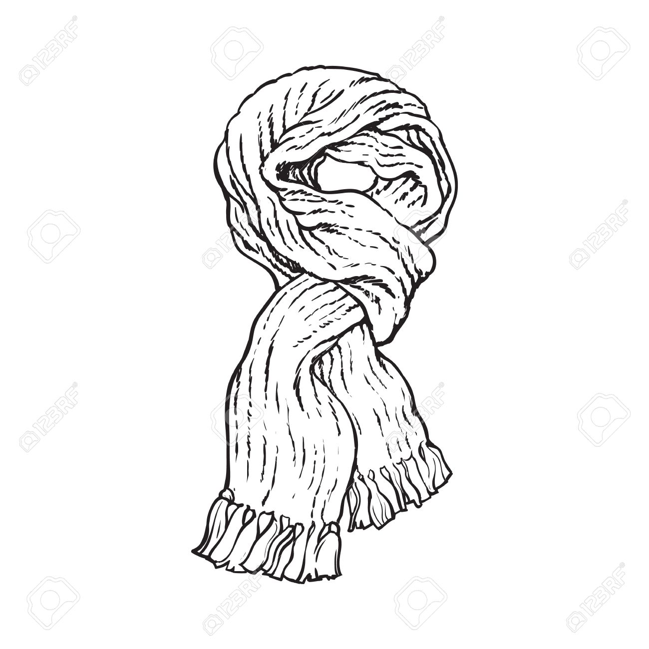 Bright Slip Knotted Winter Knitted Scarf With Tassels Sketch Style Vector Illustrations Isolated On White Background Hand Drawn Fluffy Woolen Scarf Tied In Slip Knot Winter Accessory Royalty Free Cliparts Vetores E