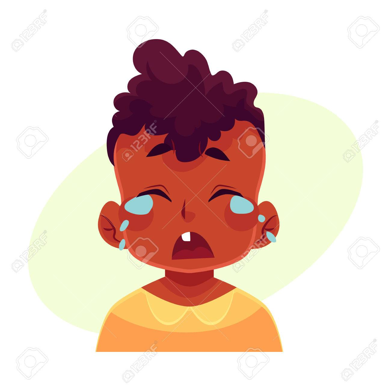 少年の顔表情黄色の背景に分離された漫画ベクトル イラストを泣い