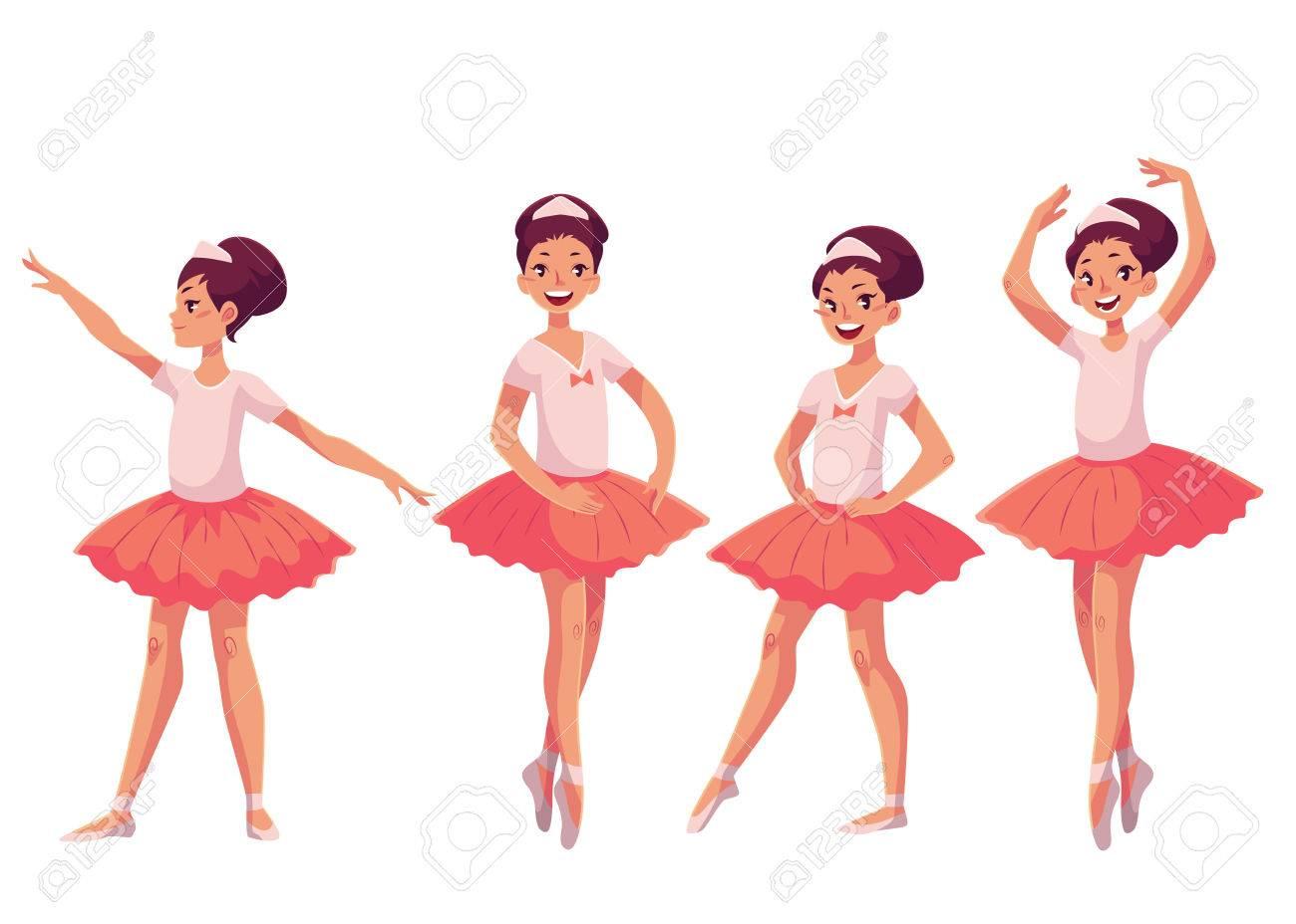 Graceful Piuttosto Giovane Ballerina In Tutù Rosa Stile Cartone
