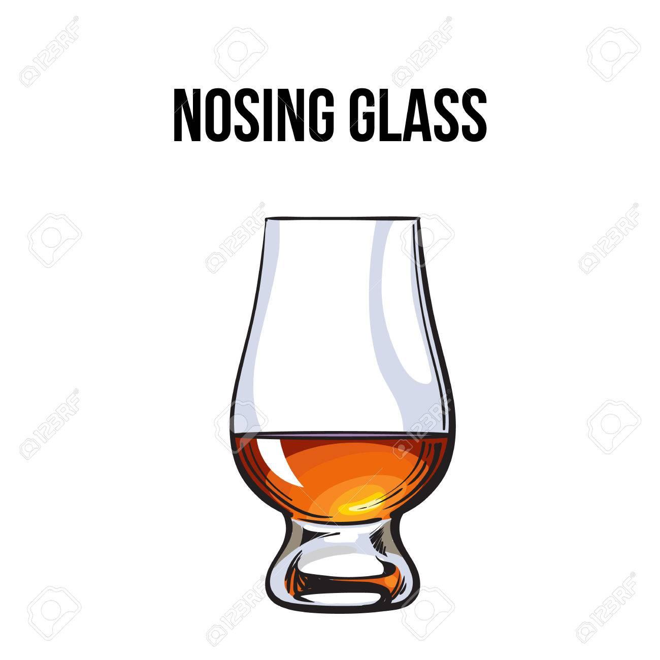 Scotch Whisky Rhum Brandy Nosing Verre Croquis Style Vecteur