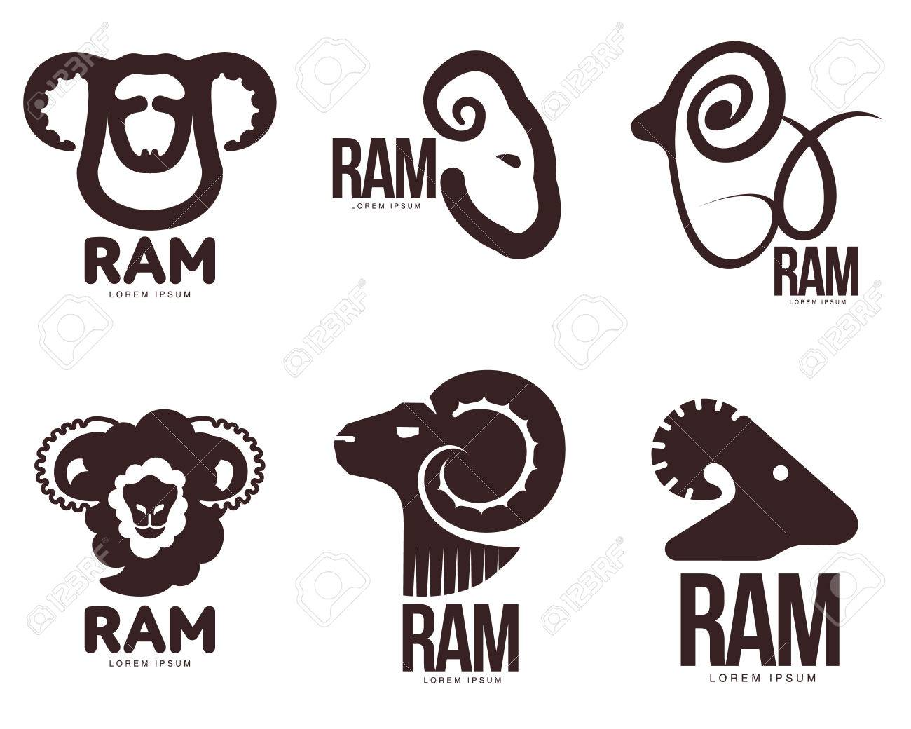 Set Of Ram Sheep Lamb Head Graphic Templates Vector Illustration On White Background