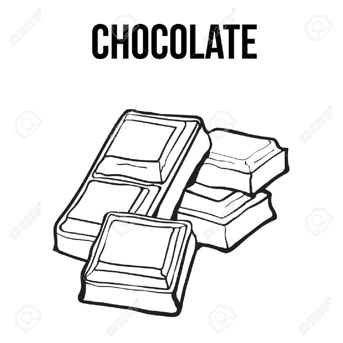 Des Morceaux De Barre De Chocolat Noir Et Blanc Croquis Style Vecteur Illustration Isolé Sur Fond Blanc Hand Drawn Barre De Chocolat Cassé En