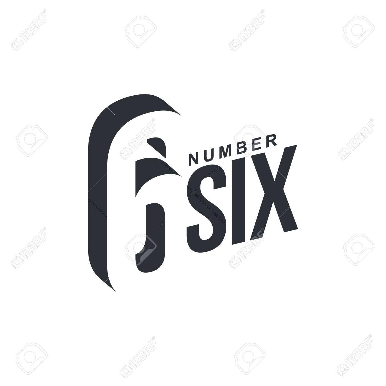 Blanco Y Negro Plantilla De Logotipo Número Seis En Diagonal ...