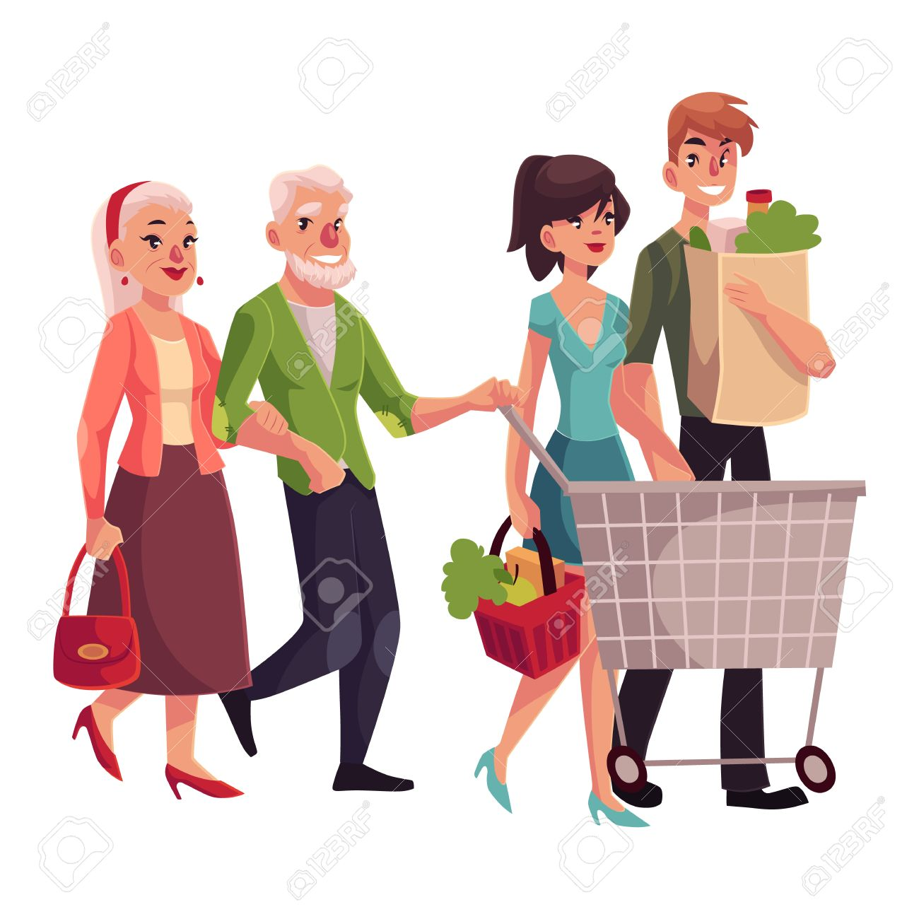 Old And Young Couples Shopping Together, Buying Food In Grocery Store,  Cartoon Vector Illustration