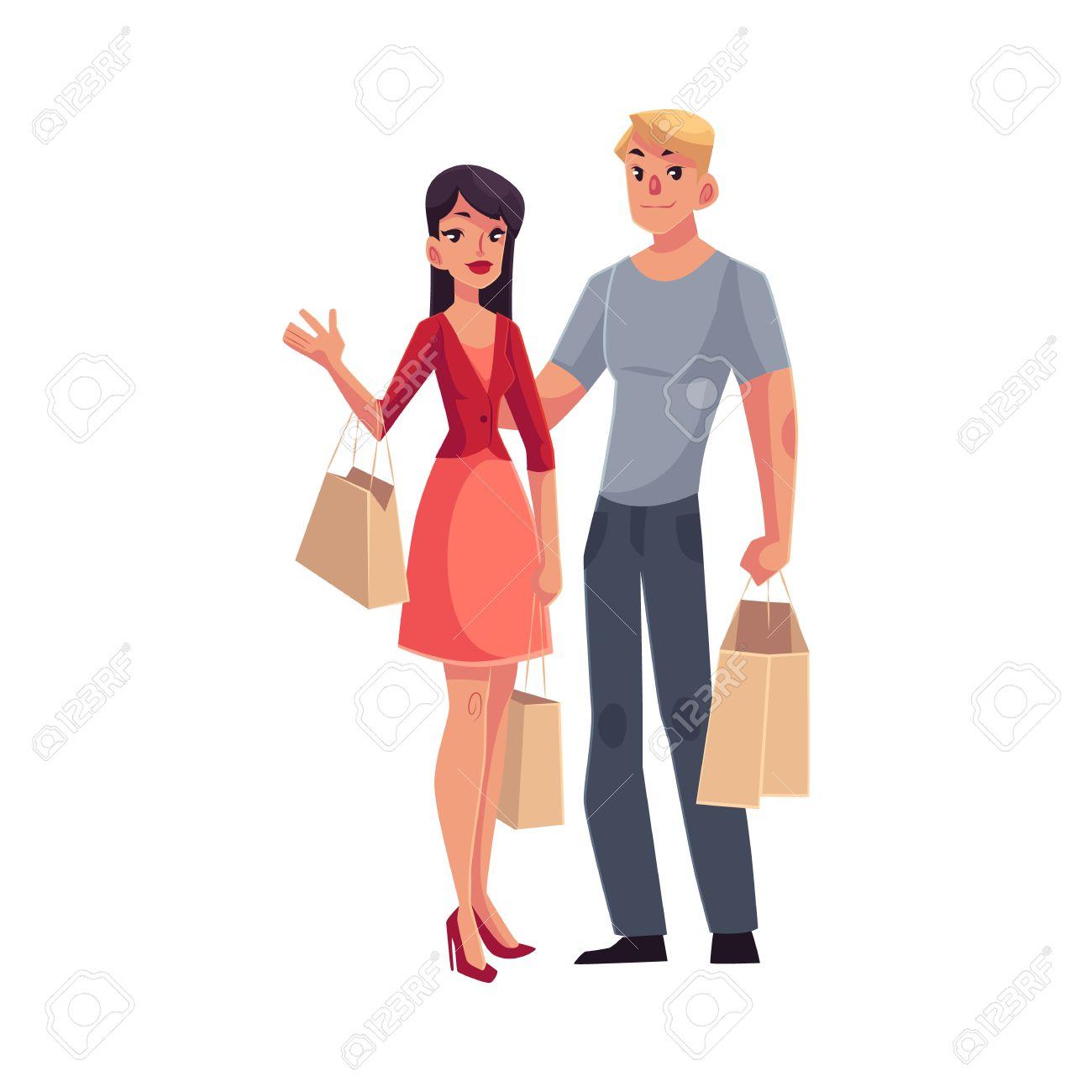 Pareja De Hombre Y Mujer Con Bolsas De La Compra Ilustración