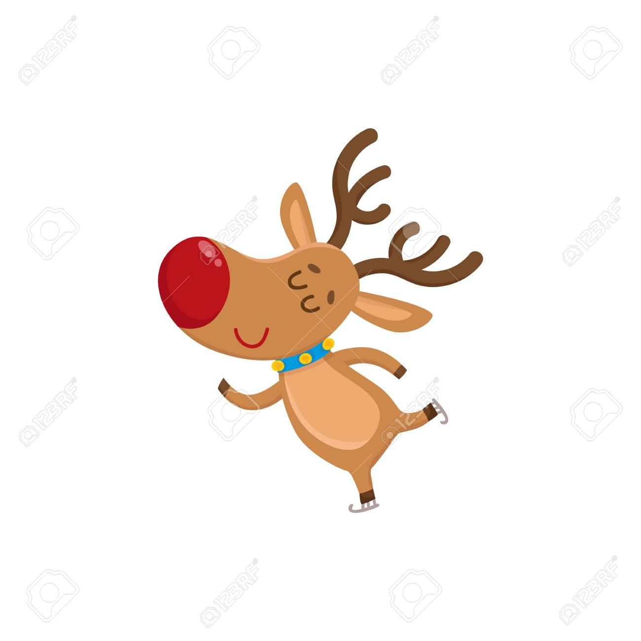Cute And Funny Christmas Reindeer Ice Skating Happily Cartoon Vector Illustration Isolated On White Background