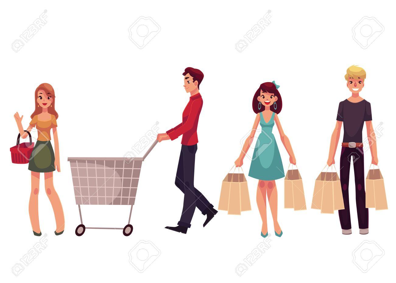 cd307649b Los Hombres Jóvenes Y Las Mujeres Con Bolsas De La Compra, Carrito, Cesta,  Ilustración Vectorial De Dibujos Animados Aislados En El Fondo Blanco.