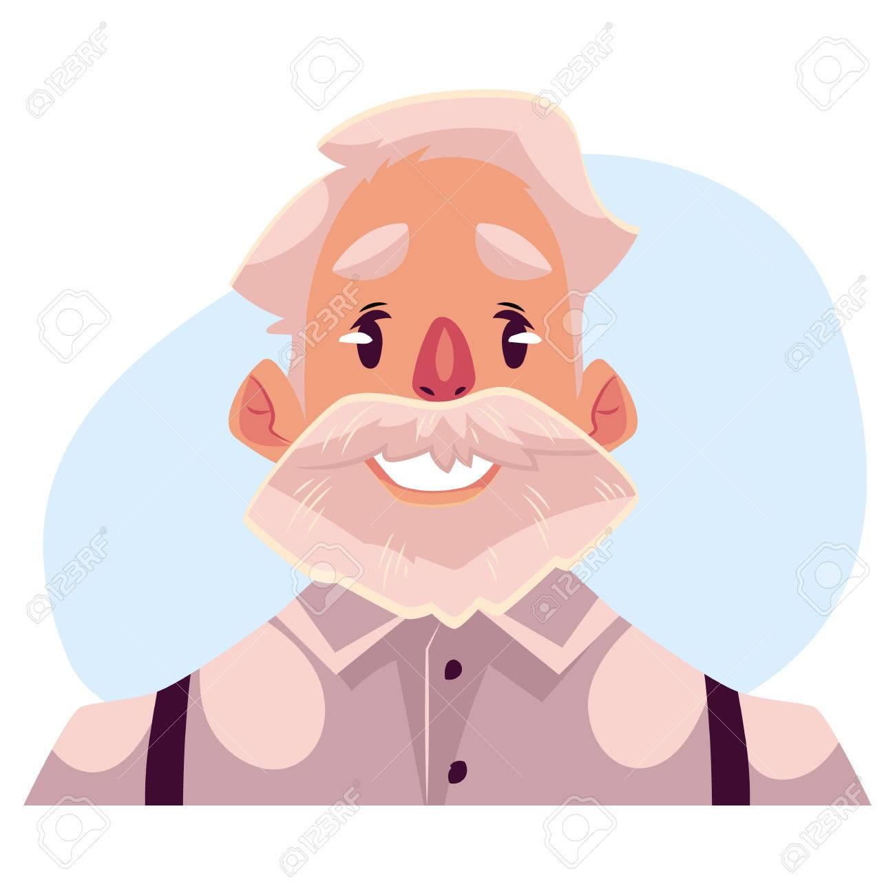 灰色髪老人の顔、表情、青の背景に分離された漫画ベクトル イラストの
