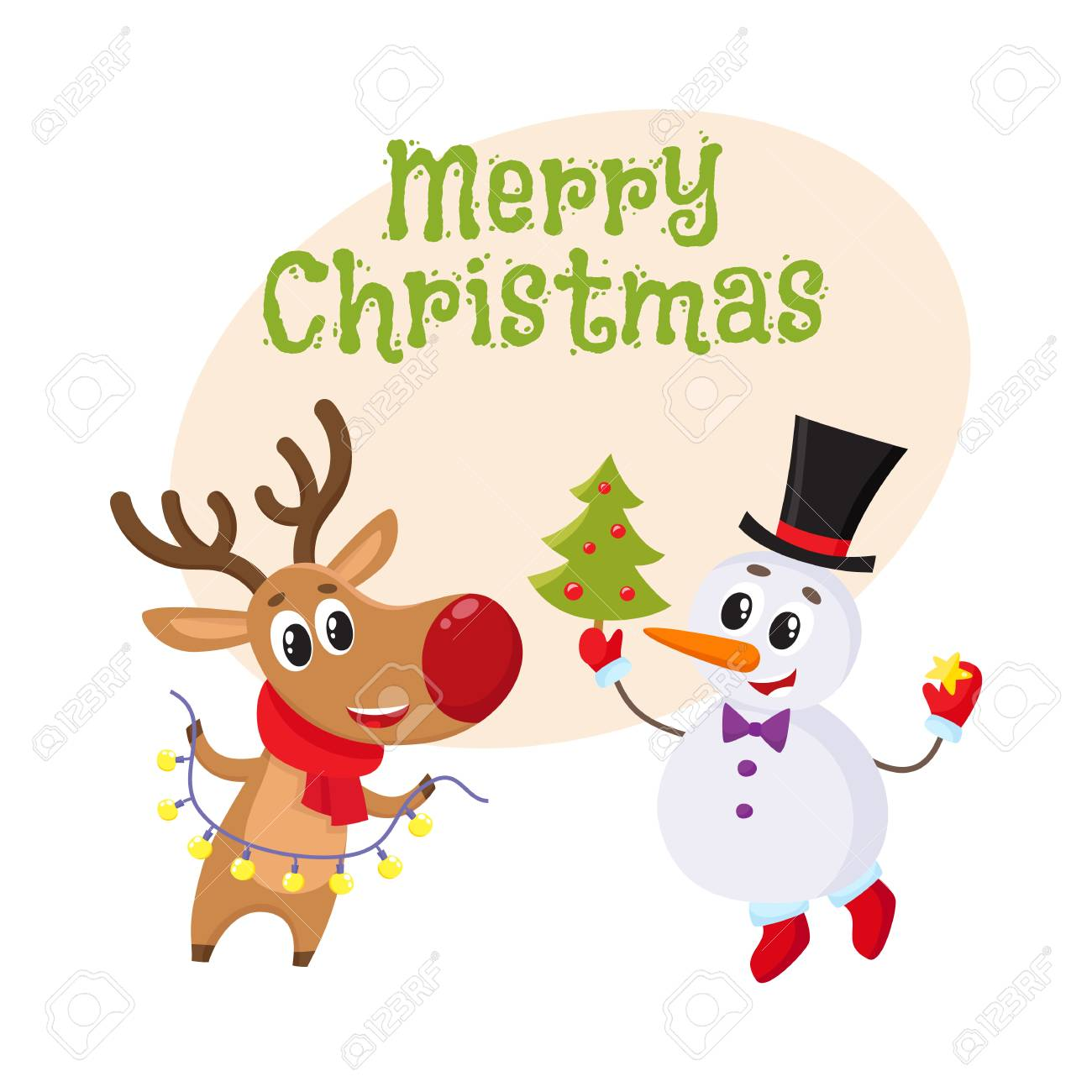 Merry Christmas Greeting Card Template With Happy Snowman Holding