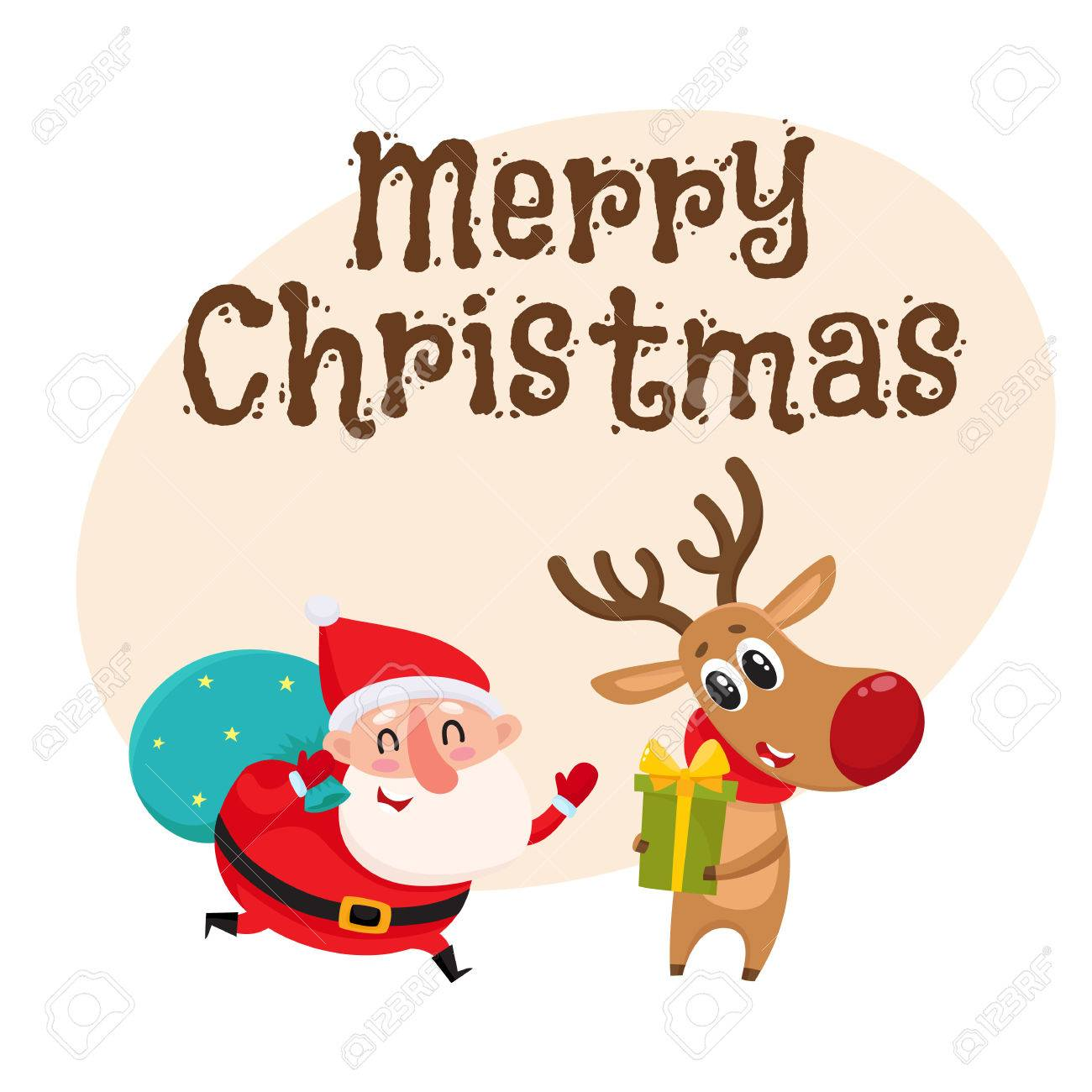 Merry Christmas Greeting Card Template With Funny Santa And Funny ...