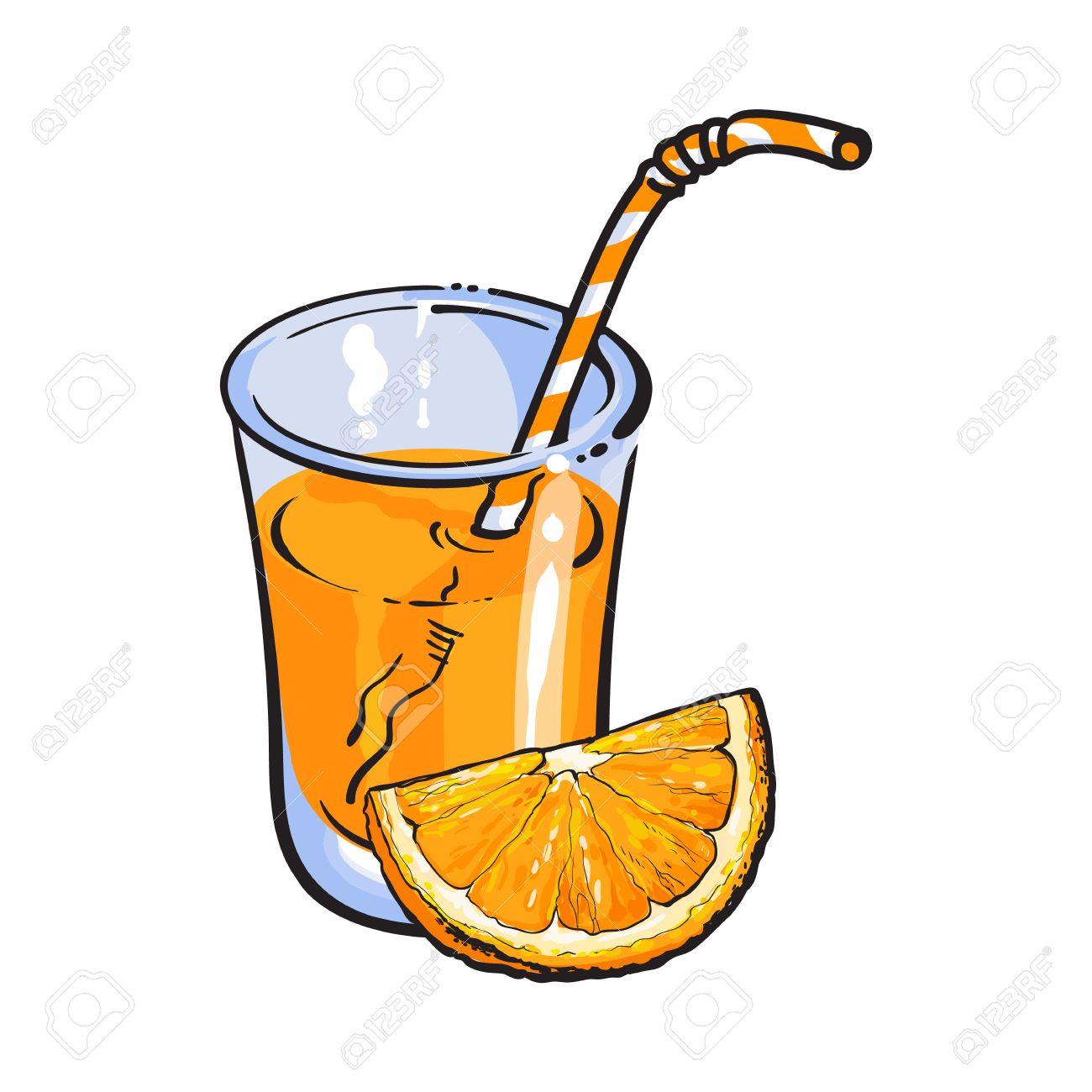 Verre De Jus Fraîchement Pressé Avec Un Morceau D Orange Croquis Illustration Vectorielle Isolé Sur Fond Blanc Dessin à La Main D Orange Et De Jus