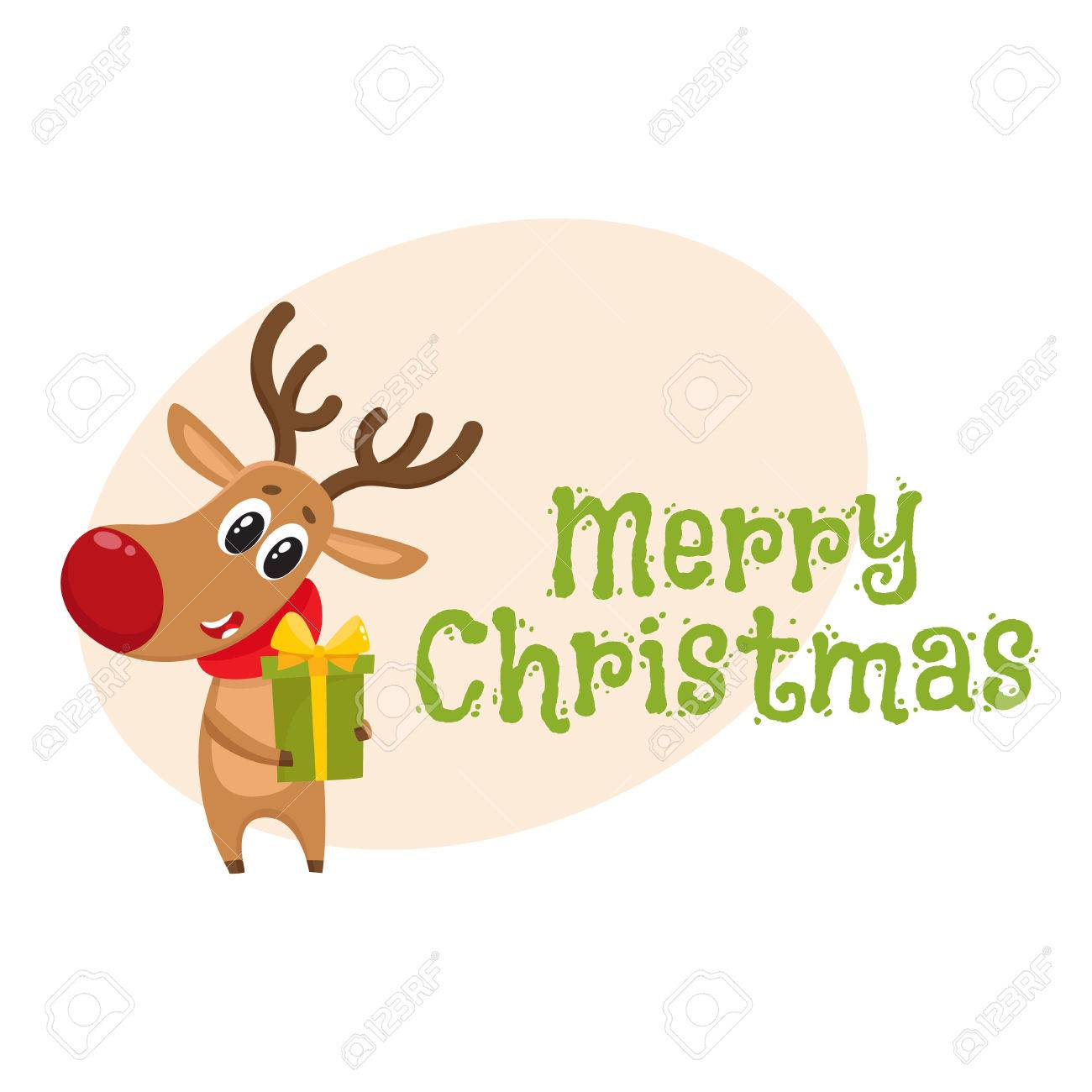 merry christmas greeting card template with funny reindeer in