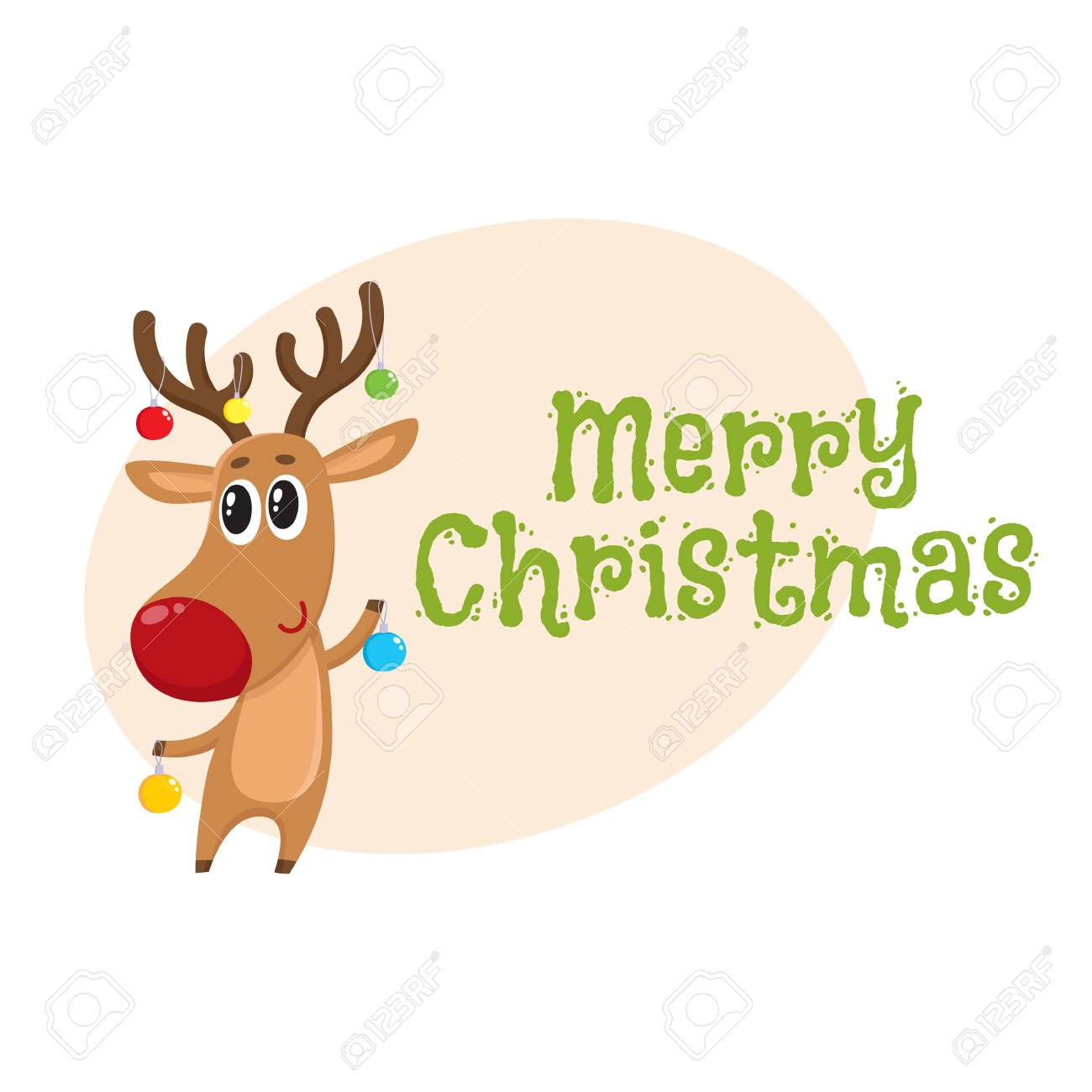 merry christmas greeting card template with funny reindeer holding