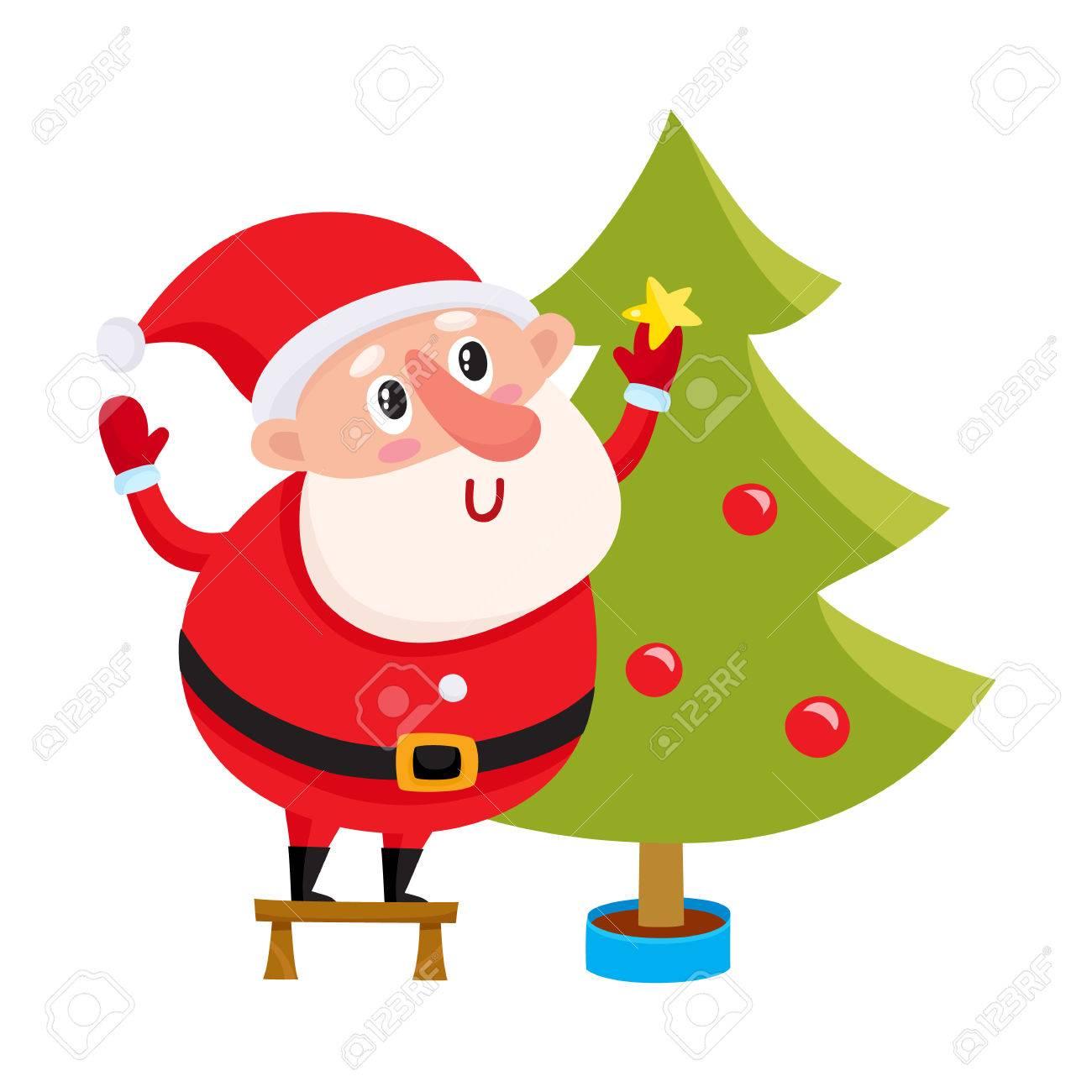 Lindo Y Divertido Santa Claus Decorar Un árbol De Navidad Ilustración Vectorial De Dibujos Animados Aislado En El Fondo Blanco Dibujos Animados