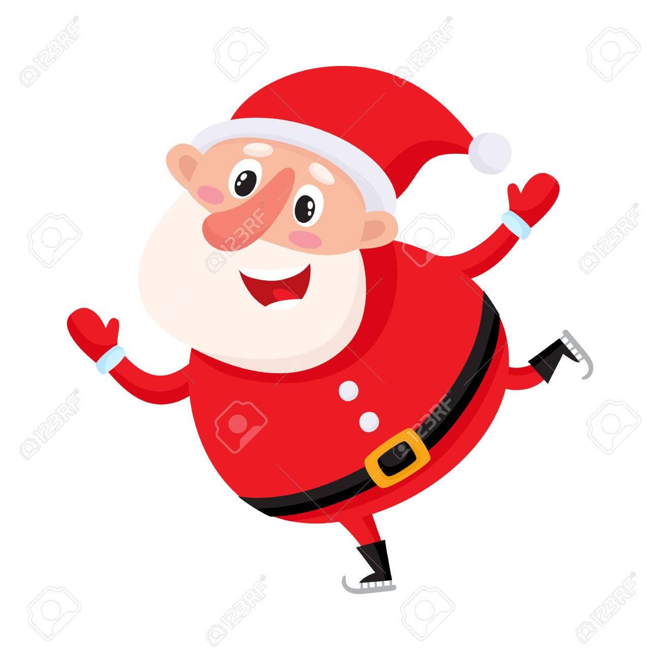 Patin à Glace Mignon Et Drôle De Père Noël Illustration De Vecteur De Dessin Animé Isolé Sur Fond Blanc Père Noël S Amusant De Patinage Sur Glace