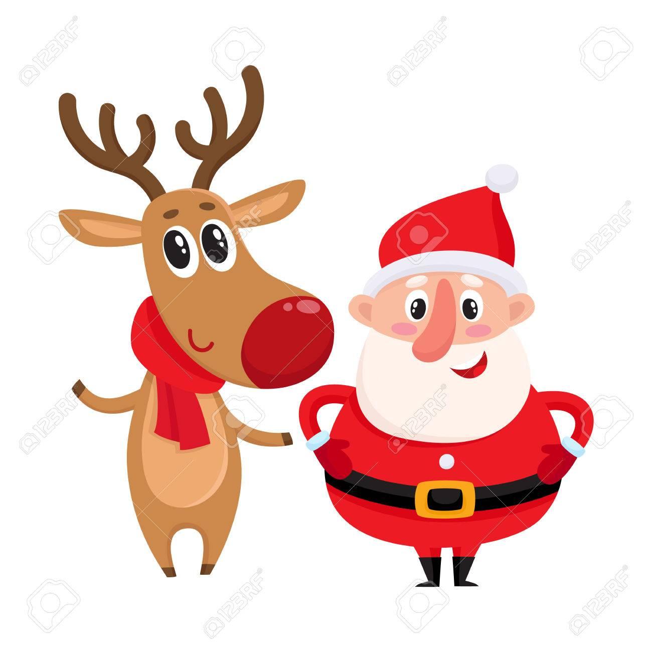 Funny Santa Claus Et Le Renne En Echarpe Rouge Debout Ensemble