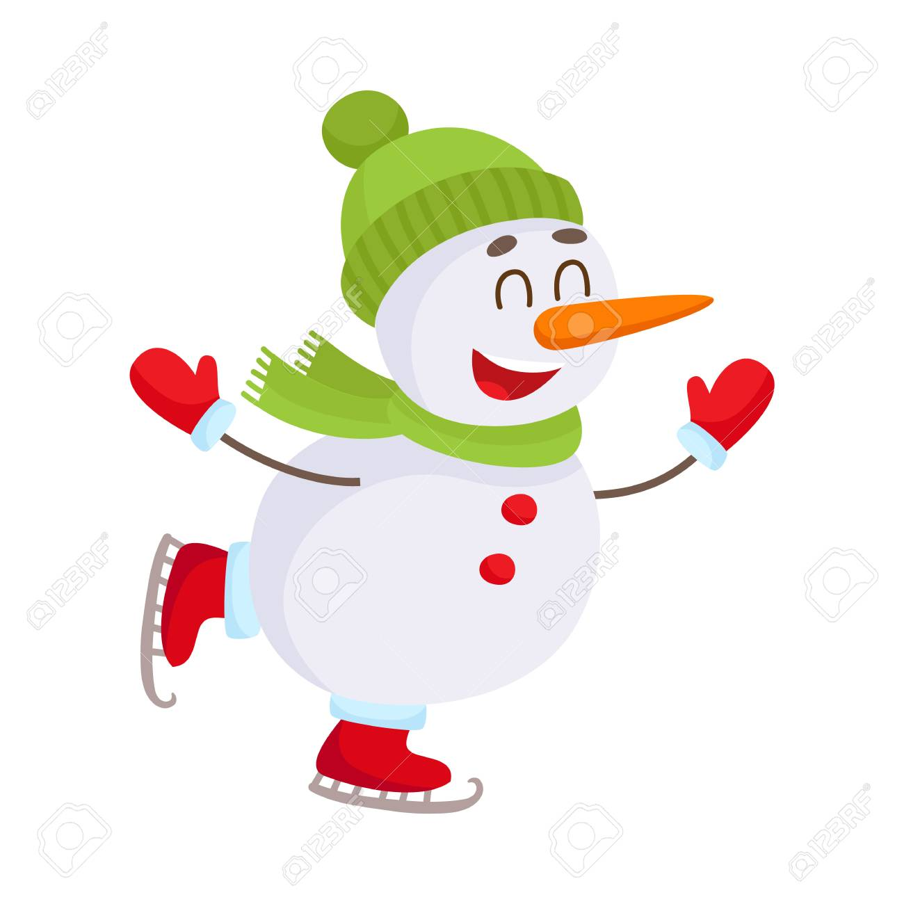 f333b95d08522 Cute And Funny Little Snowman Ice Skating Happily