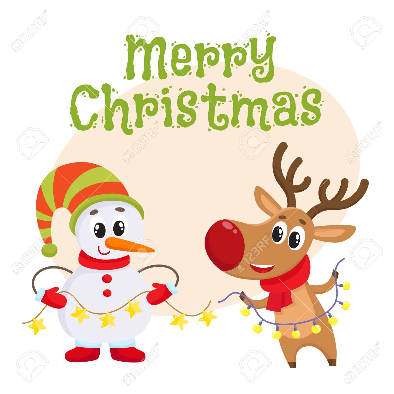 Merry christmas greeting card template with funny reindeer and merry christmas greeting card template with funny reindeer and snowman holding public electronic garlands with light m4hsunfo