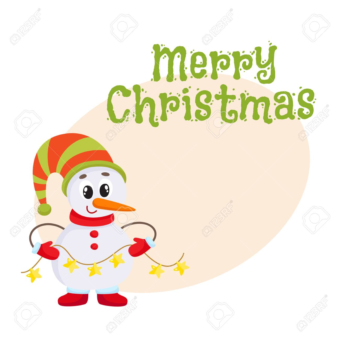 Merry Christmas Greeting Card Template With Cute And Funny Little