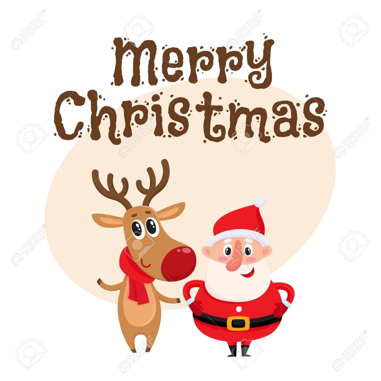 merry christmas greeting card template with funny santa claus and reindeer in red scarf standing together