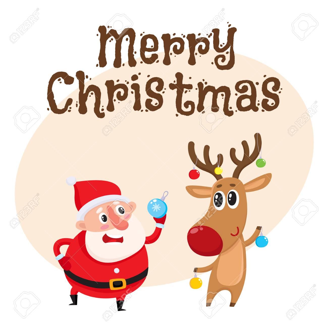 Photo De Noel Drole.Modèle De Carte De Voeux Joyeux Noël Avec Drôle De Père Noël Et Renne Drôle Tenant Des Boules De Noël Illustration De Vecteur De Dessin Animé Isolé