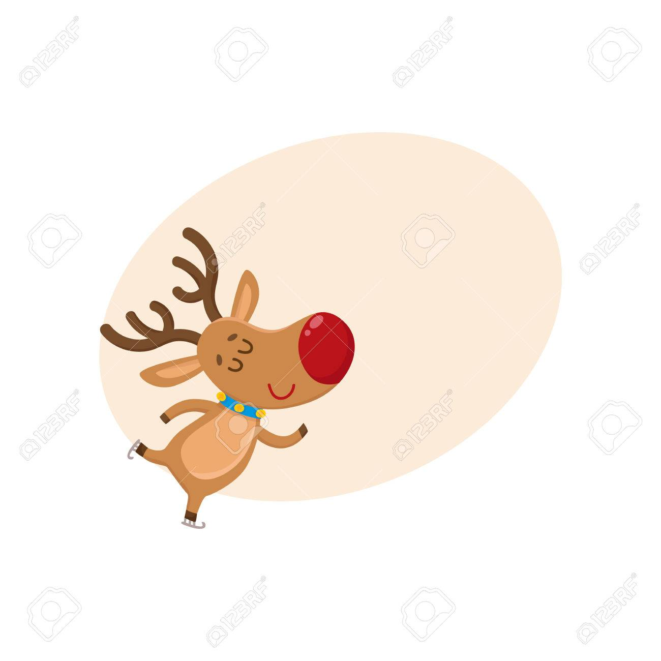 Cute And Funny Christmas Reindeer Ice Skating Happily Cartoon Vector Illustration With Background For Text