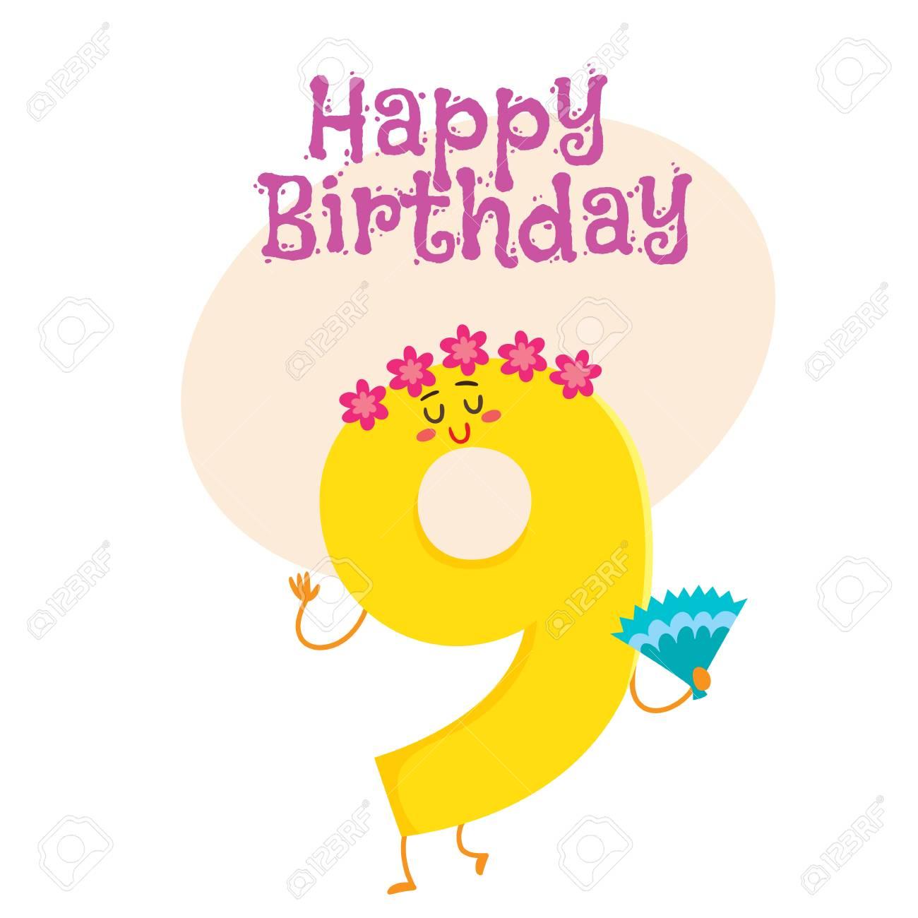 Happy birthday vector greeting card poster banner design with happy birthday vector greeting card poster banner design with cute and funny nine number kristyandbryce Gallery