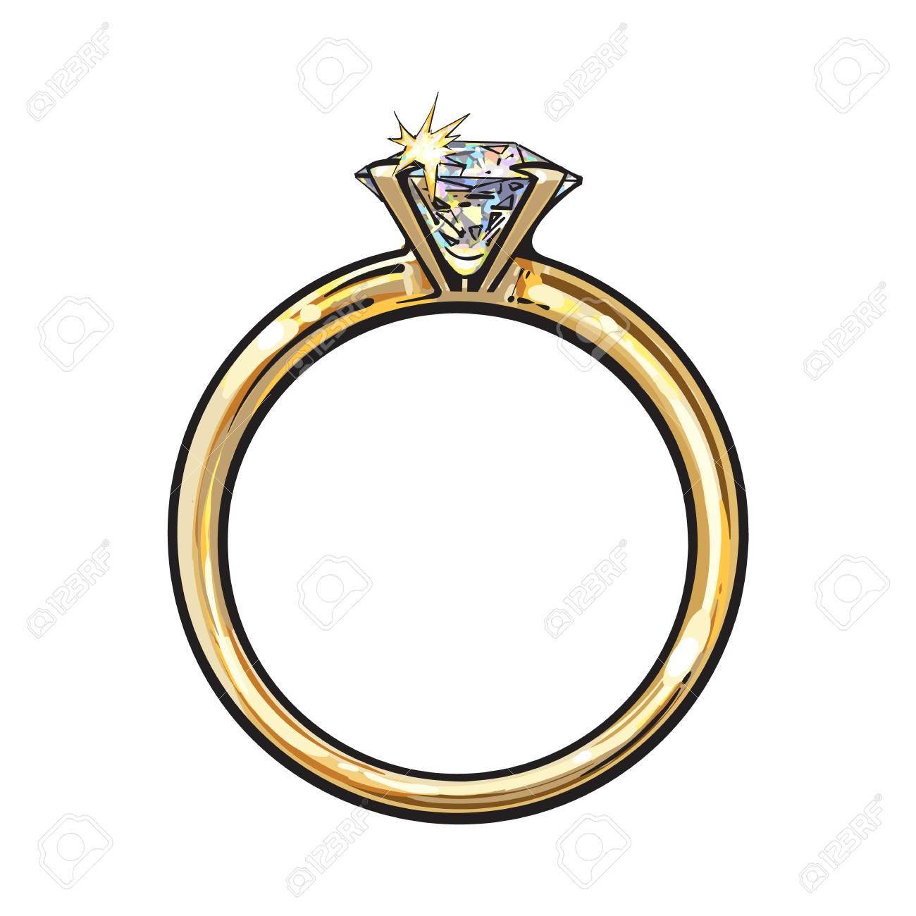 大きな輝くダイヤ白い背景で隔離のスケッチ イラストで黄金の婚約指輪