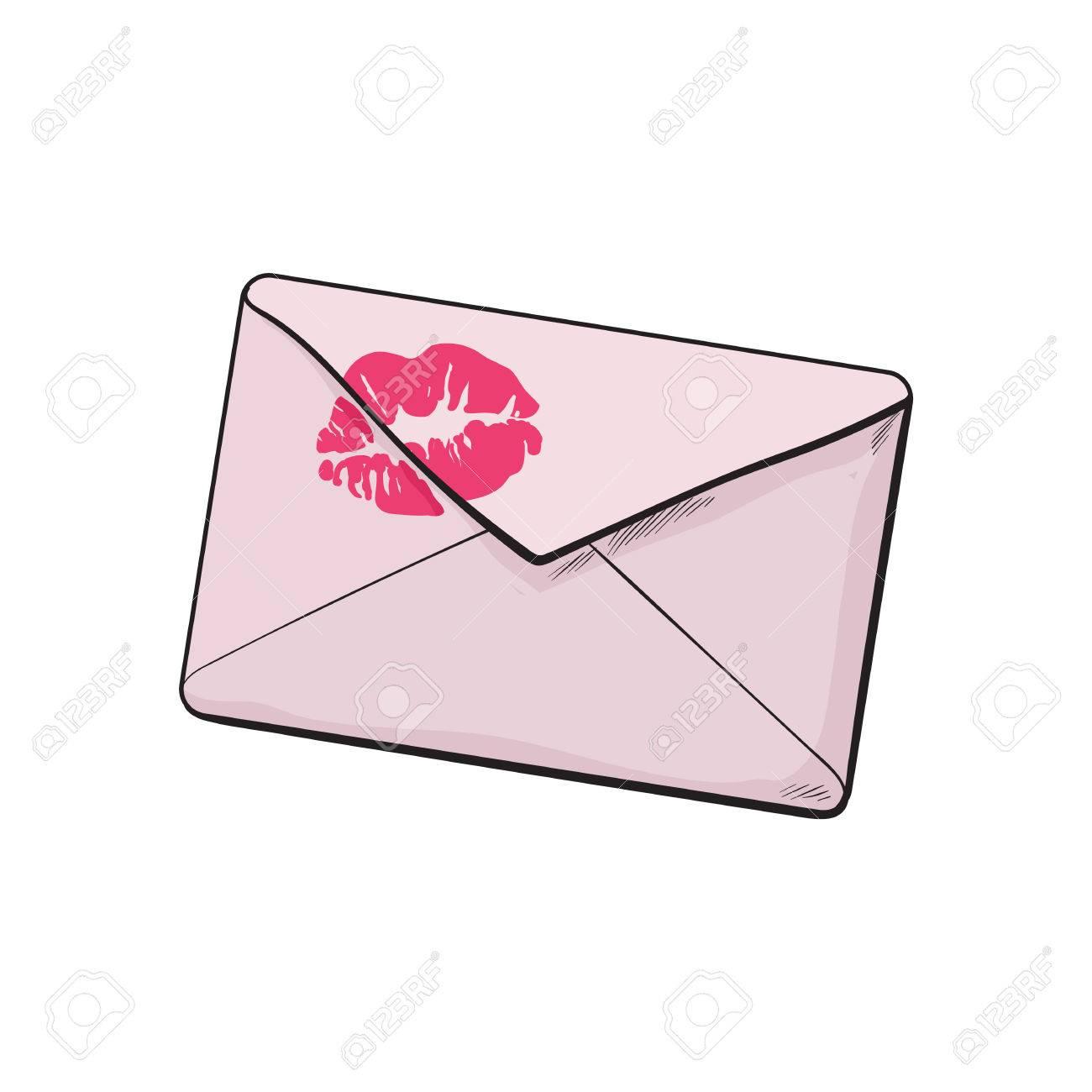 Dessin D Enveloppe backside d'enveloppe rose avec le rouge à lèvres baiser, croquis