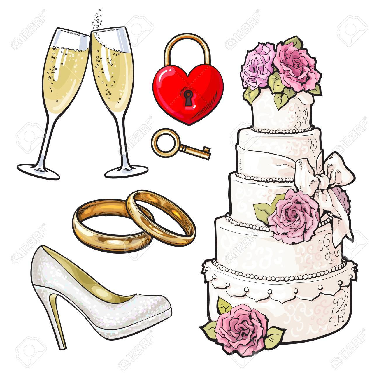 Set of wedding icons cake rings glasses of champagne and set of wedding icons cake rings glasses of champagne and lock with a biocorpaavc Image collections
