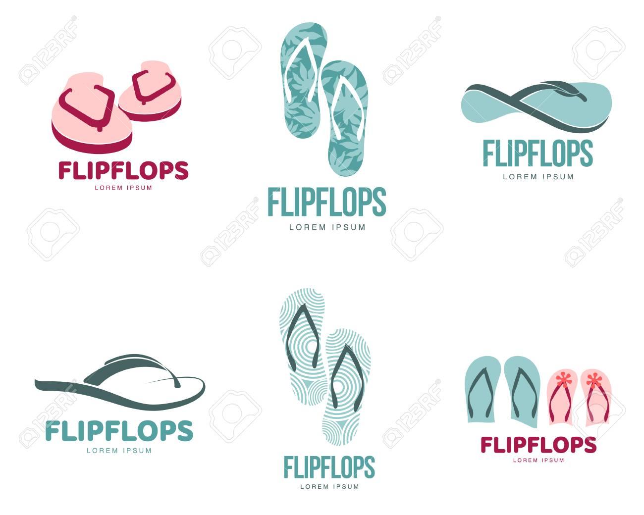 ec2774f577851 Set Of Stylized Black And White Rubber Flip Flops Logo Templates ...