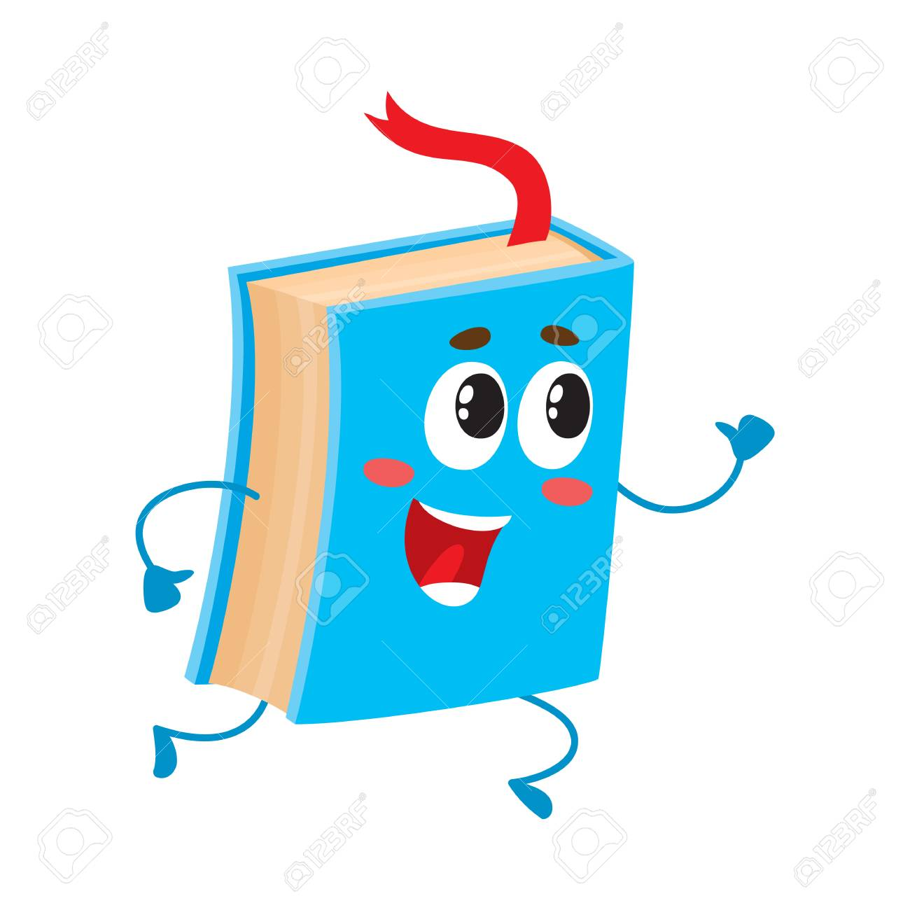 Caractere De Livre Drole En Cours D Execution Avec Ruban De Signet Visible Illustration De Vecteur De Dessin Anime Isole Sur Fond Blanc Livre Bleu