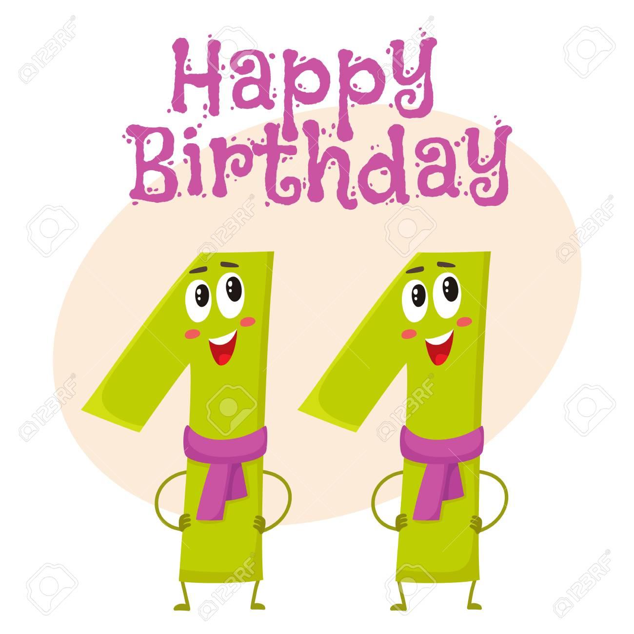 Happy birthday vector greeting card poster banner design with happy birthday vector greeting card poster banner design with cute and funny eleven number kristyandbryce Gallery