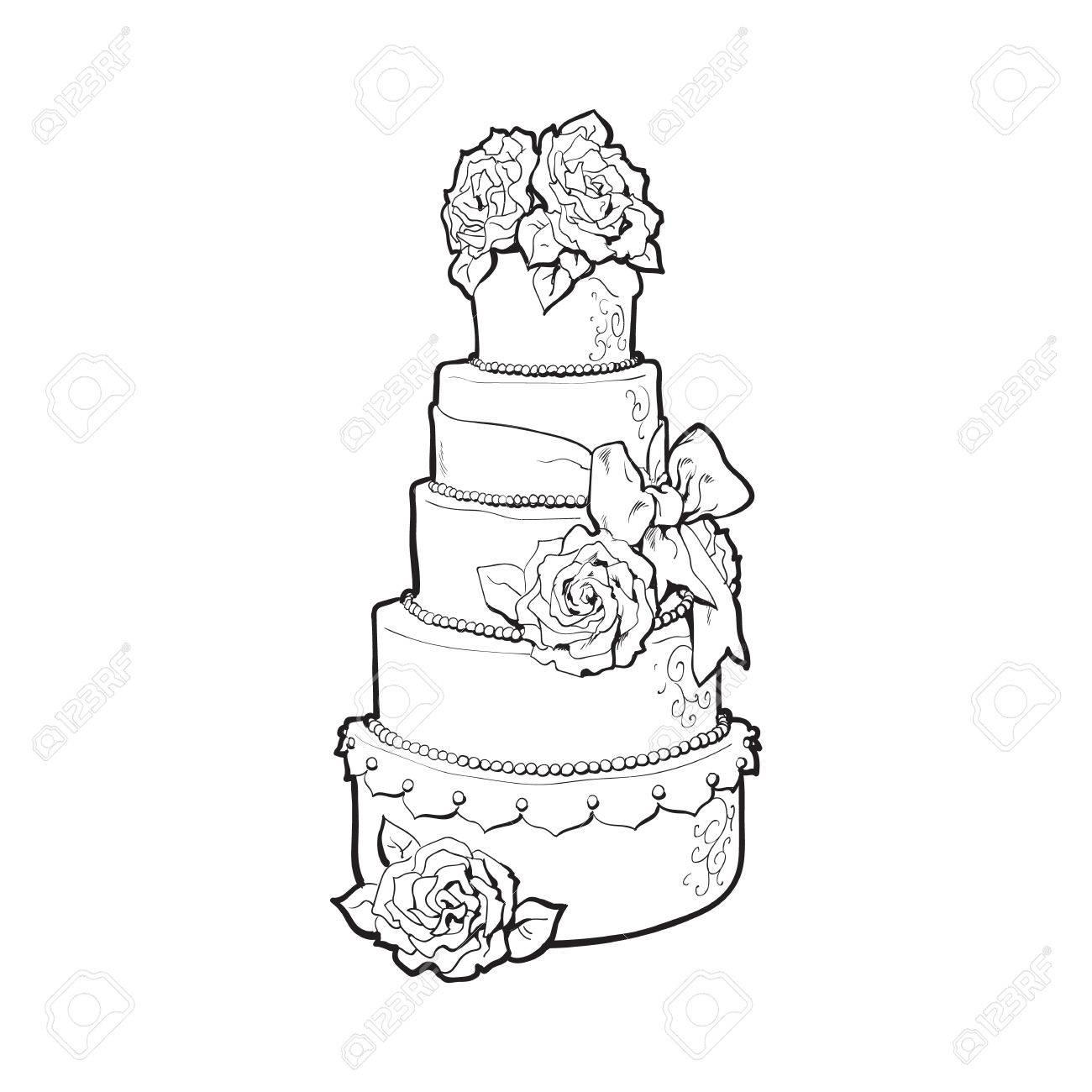 Traditionelle Weisse Hochzeitstorte Mit Marzipan Rosen Illustration