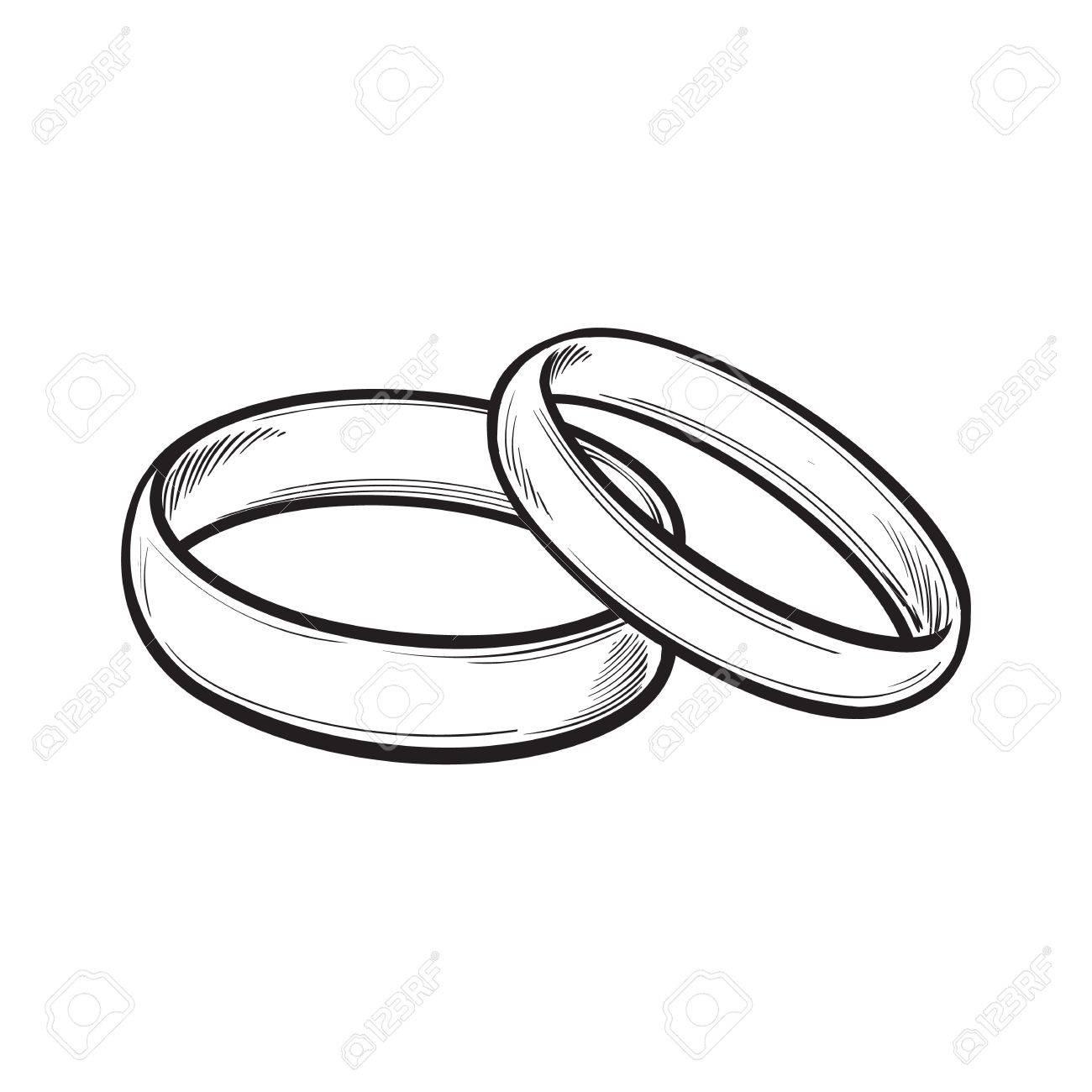 Paar Traditionelle Goldene Hochzeit Ringe Skizze Stil Illustration