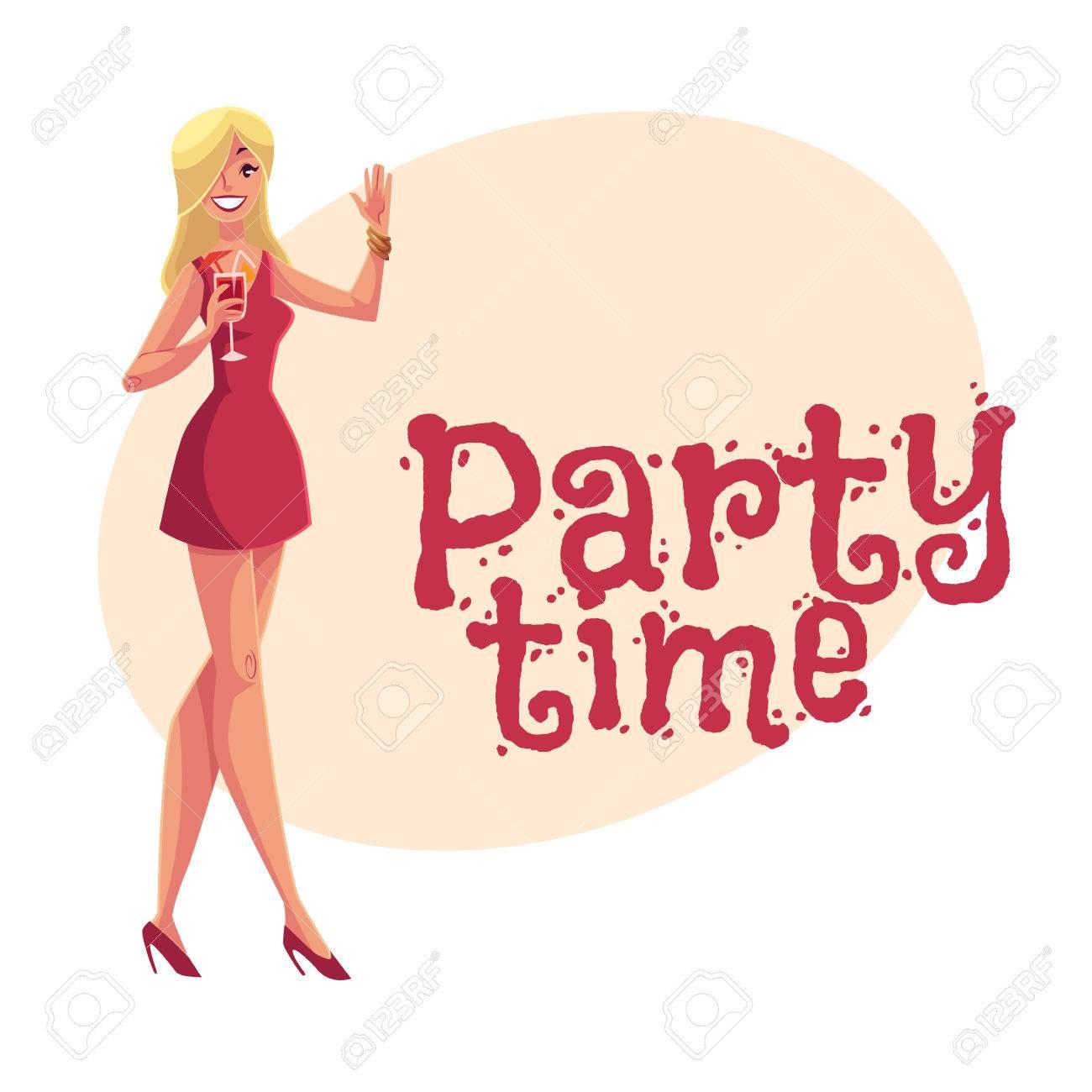 Niña Clubber En Corto Vestido De Cóctel De La Bebida Roja En Partido ...