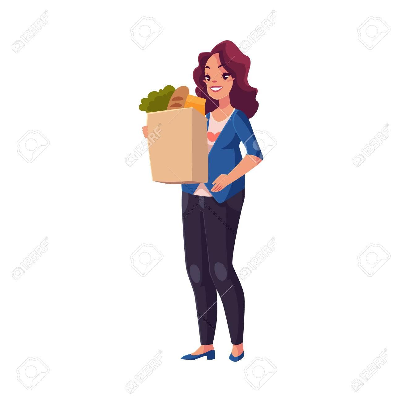 vignette di donne con la borsa della spesa