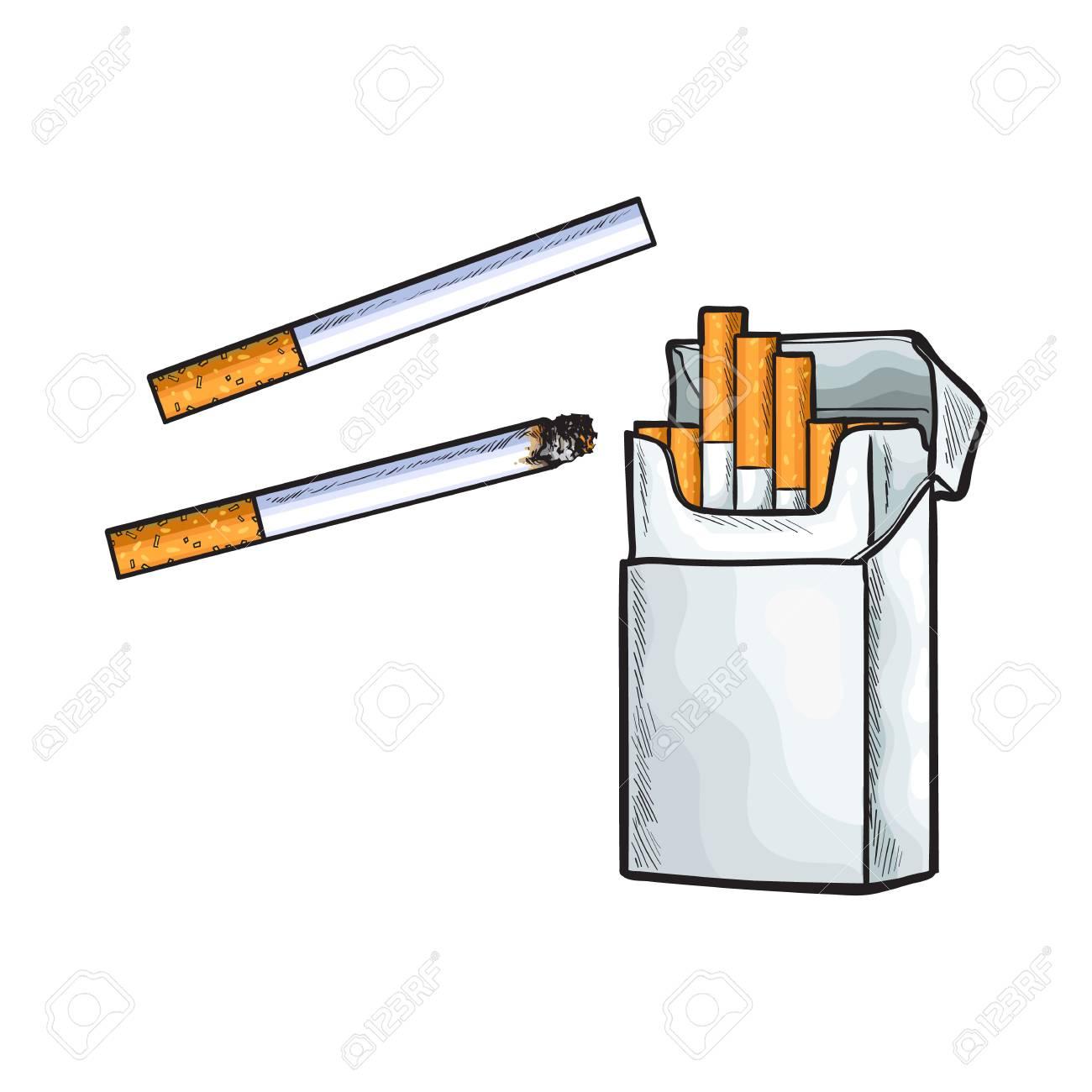Dessin Paquet De Cigarette unlabeled debout paquet ouvert de cigarettes, croquis illustration