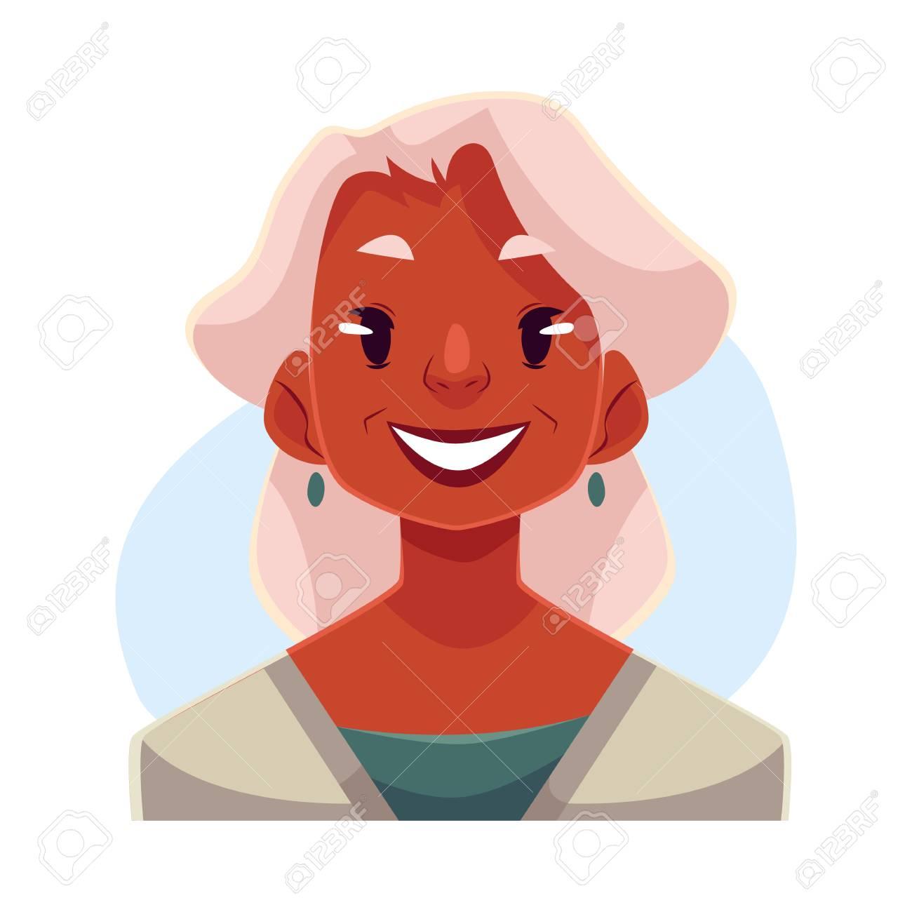 髪の古いアフリカ女性、顔の表情を笑顔を灰色、青の背景に分離された