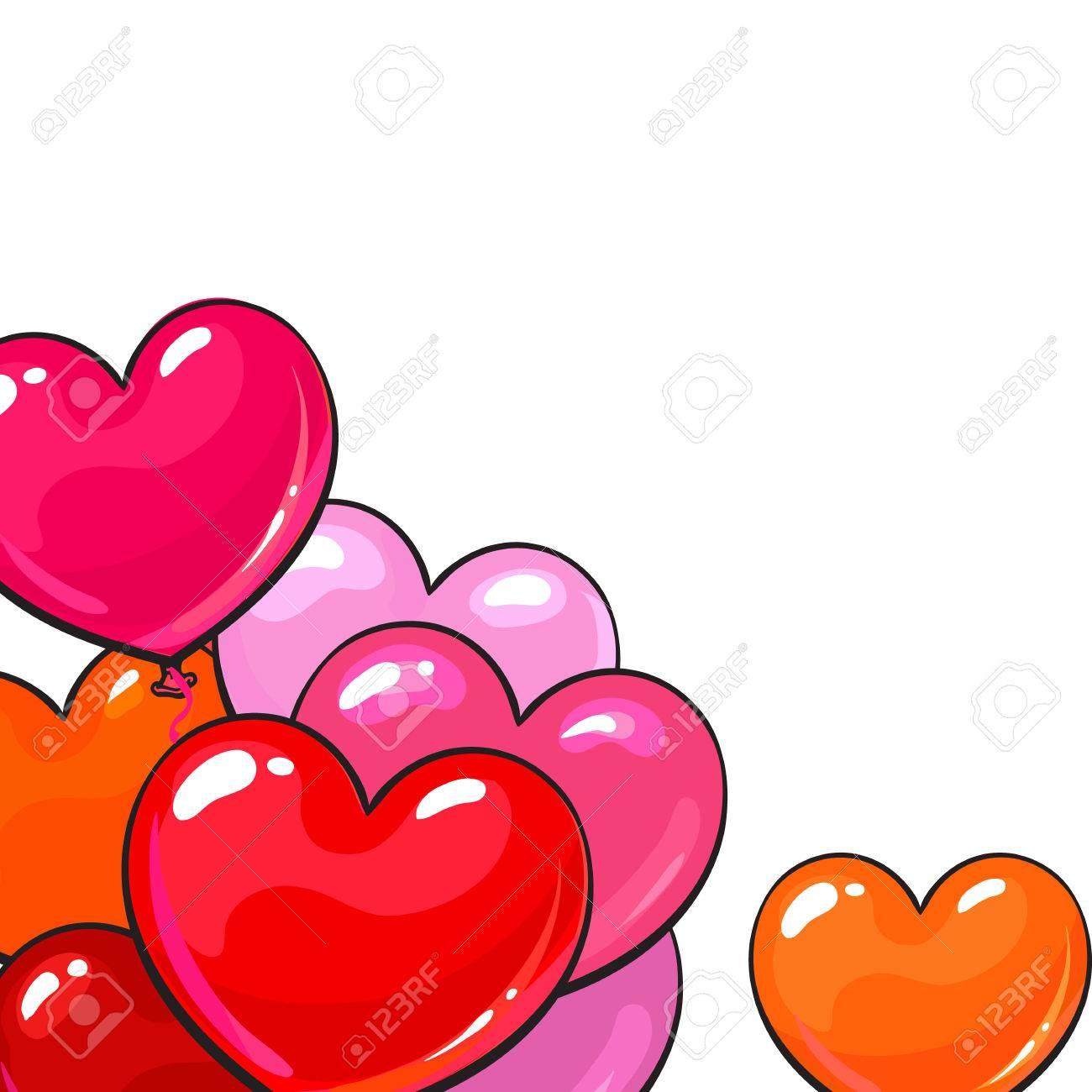 Ensembles De Ballons En Forme De Coeur Lumineux Et Colorés Illustration Vectorielle De Dessin Animé Isolée Sur Fond Blanc Tronc De Ballons De Coeur