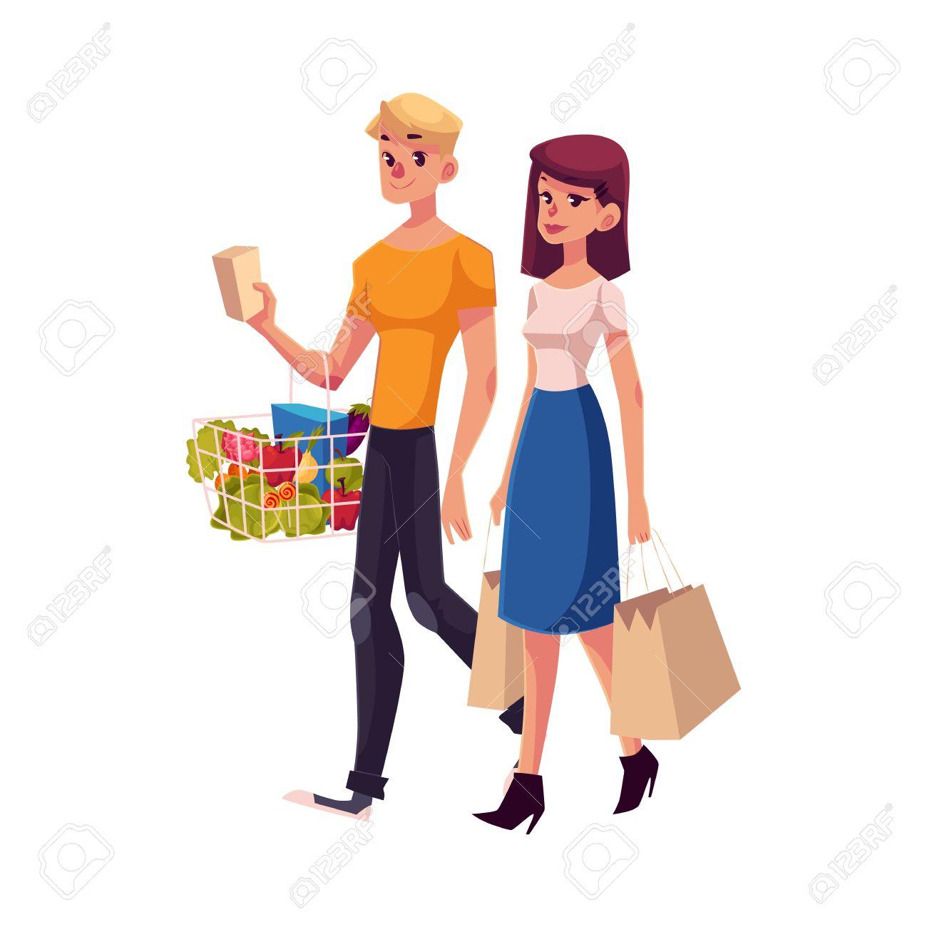 El hombre y la mujer con bolsas de la compra. ilustración vectorial de dibujos animados de la mujer y el hombre va plana con teléfono y paquetes en